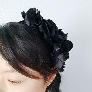 f21 black satin floral headband